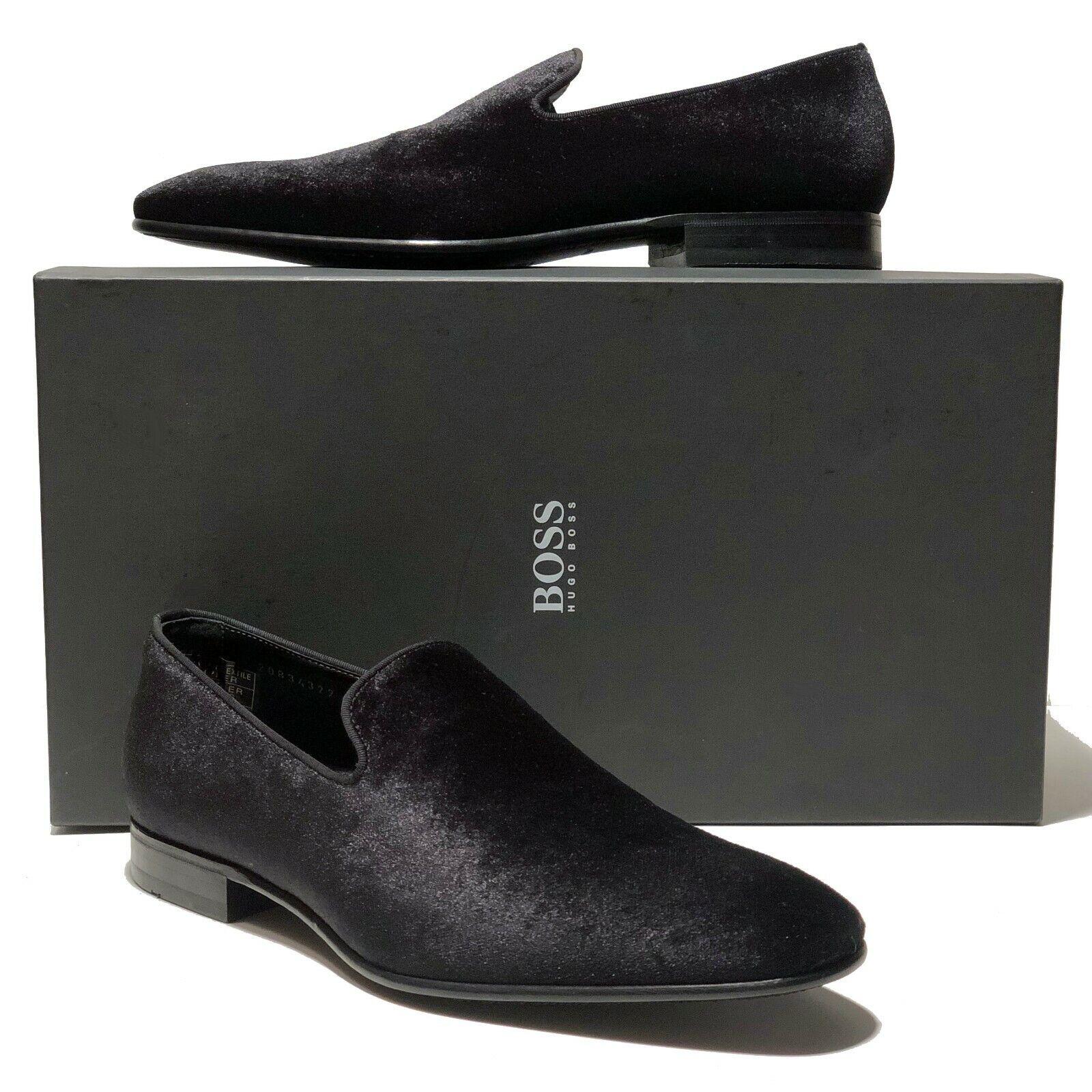 HUGO BOSS  Italia nero Velour Tuxedo Lofers 8.5 Dress scarpe Men's Fashion Velvet  shopping online di moda