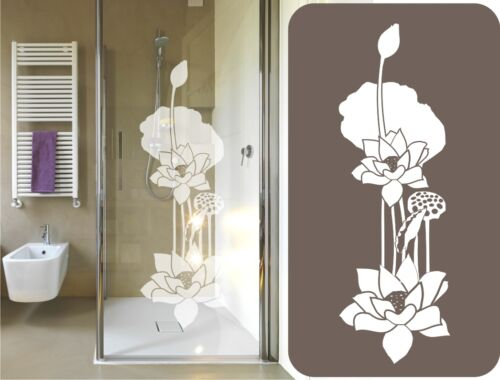 Glass Decor Sticker Engraving Lotus Flower Shower Cabin Window Mirror Image