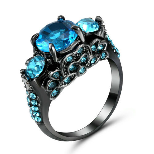Blue Fashion Jewelry Wedding Engagement Black Gold white Filled Ring Gift Size 7