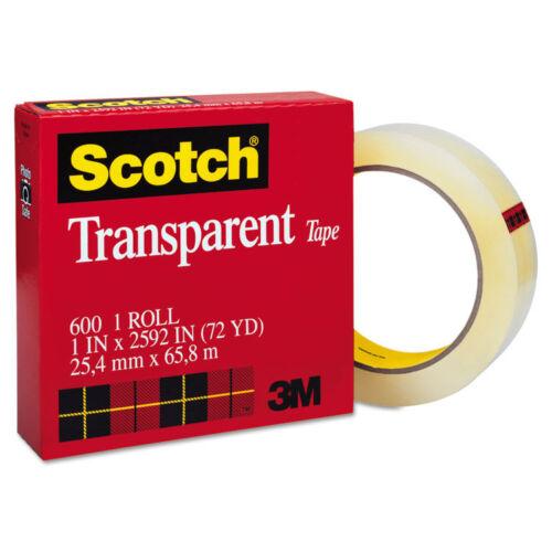 """Scotch Transparent Tape 1/"""" x 2592/"""" 3/"""" Core Clear 60012592"""