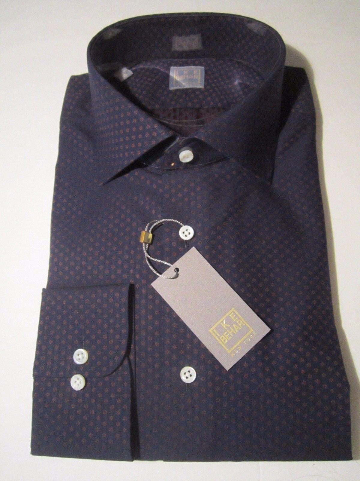 245 NWT gold label Ike Behar New York Dark bluee Dress Shirt 16 Long sleeve 36