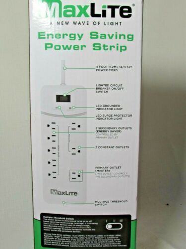 MAXLITE ENERGY SAVING SMART STRIP POWER STRIP 1350 JOULES 8 OUTLETS Smart Strip