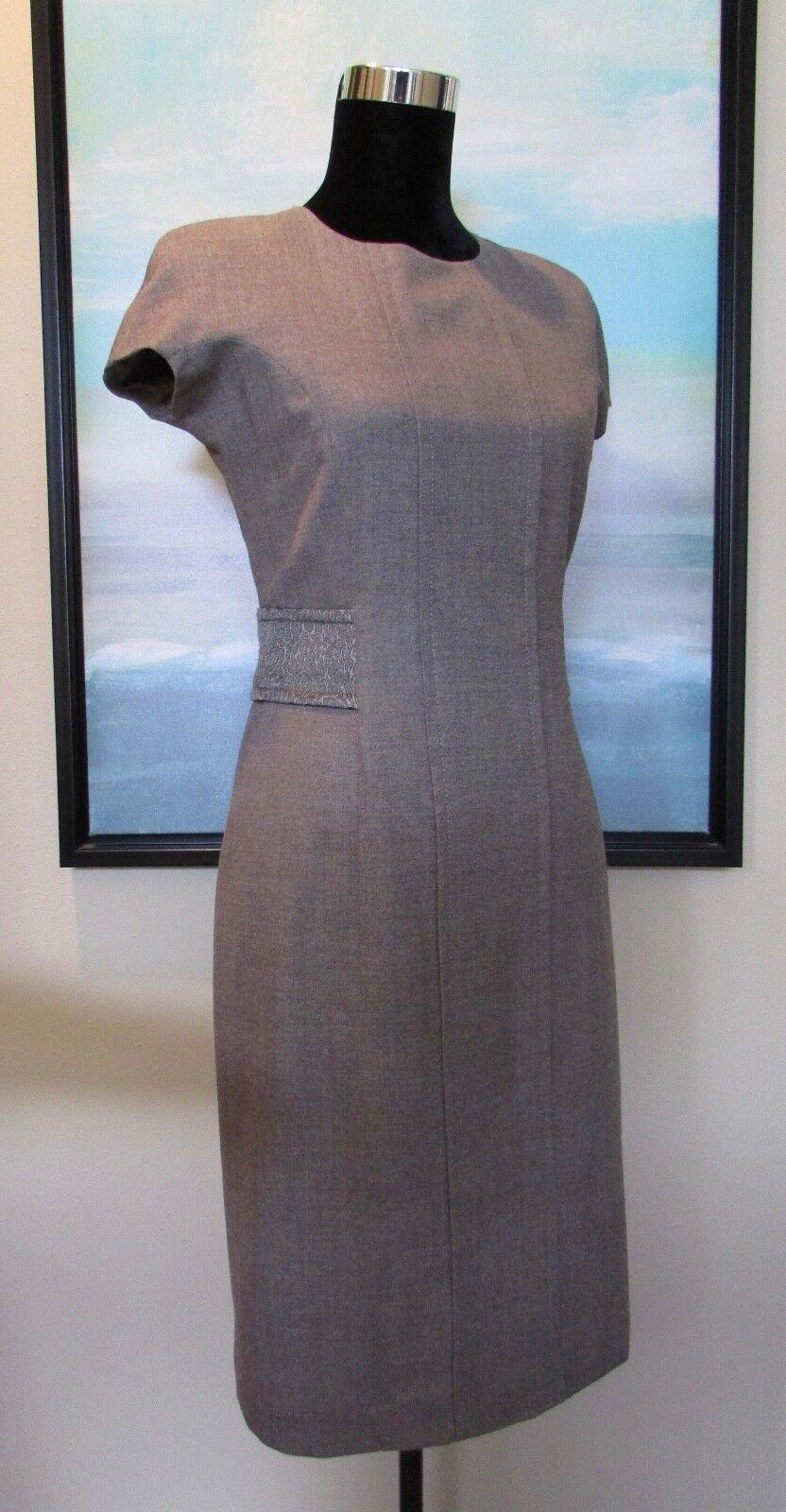 ETRO  Taupe Wool Sheath Dress with Brocade Waist Sz 42 6