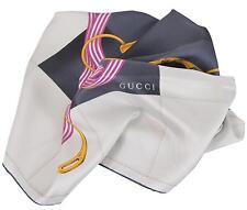 New Gucci Women's 352213 Silk Cream Black Interlocking GG Twill Neck Scarf