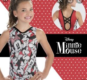 NWT GK Elite Disney Minnie Mouse Red Gymnastics Leotard Child Medium CM 6-8
