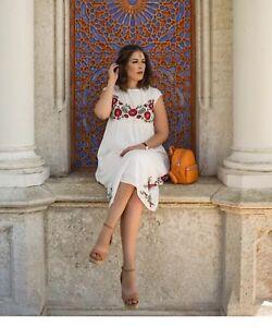 4197b9e5 Zara Boho Plumetis Embroidered Dress Size M U.K. 10 Genuine Zara | eBay