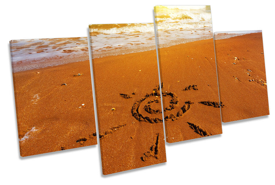 BEACH TRAMONTO SOLE SABBIA Multi canvas arte muro pannello incorniciato