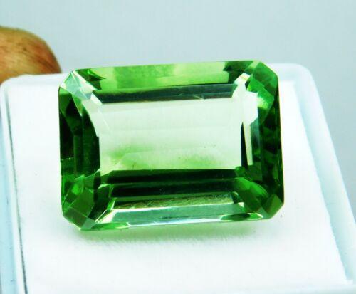 Natural 16.55 Ct Emerald Cut Brazilian Green Topaz Loose Gemstone.D-2711