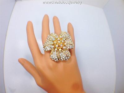 Crystal Fancy Flower Bling Diva Ring - 4 Colors