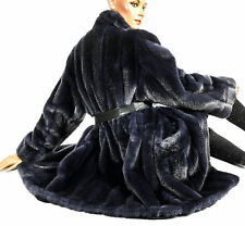 L XL Kunstpelzmantel Kunstpelz Webpelz Nerz Blau artificial fur coat like mink