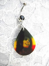 SMILING BOB MARLEY PIC DROPLET SHAPE RASTA COLORS ON BLACK CZ BELLY BUTTON RING