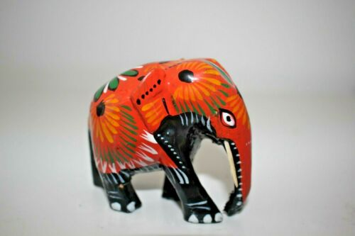 Colour: Orange Cute Sri Lankan Wooden Elephant