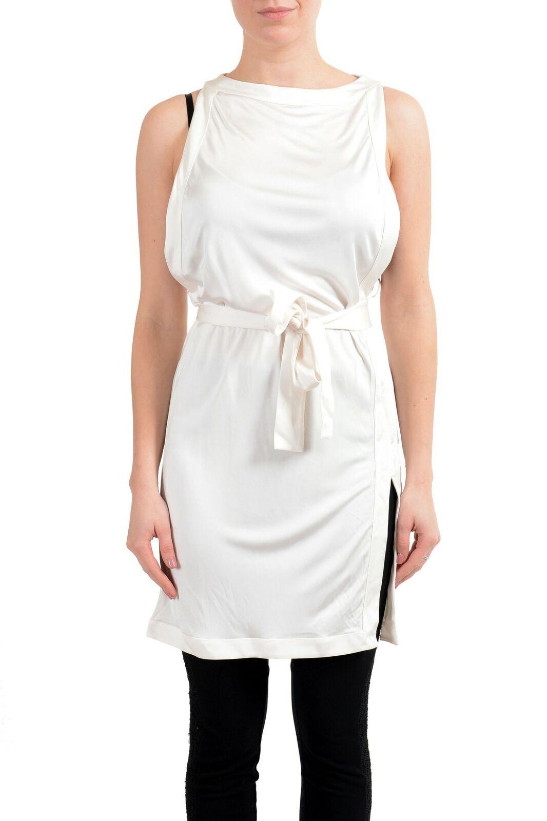 La Perla De Color blancoo  para Mujer sin Mangas con Cinturón Vestido Túnica Talla S M L  varios tamaños
