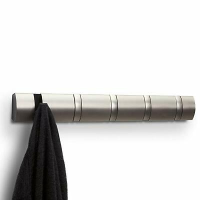 Umbra FLIP 5 Multi HOOK Wall COAT RACK with 5 Hooks DRIFTWOOD Nickel
