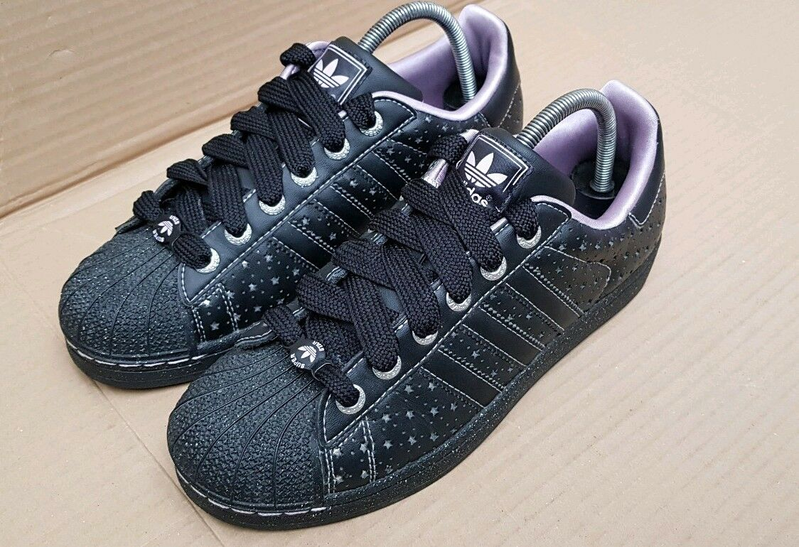 RARE BLACK ADIDAS SUPERSTAR TRAINERS SIZE 6 UK BLACK RARE SILVER STARS EXCELLENT CONDITION 3fce7c