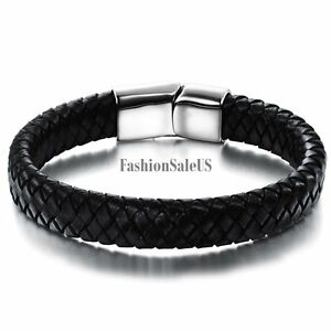 Black-Leather-Braided-Stainless-Steel-Magnetic-Buckle-Men-039-s-Bracelet-Bangle-Cuff