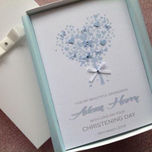 GIFT CARD Personalised HANDMADE Christening Card Boy GIFT BOX or ENVELOPE