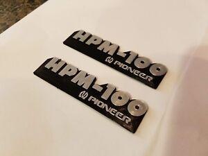 Pioneer-HPM-100-Speaker-Badge-Emblem-Logo-Name-Plate-pair-reproduction