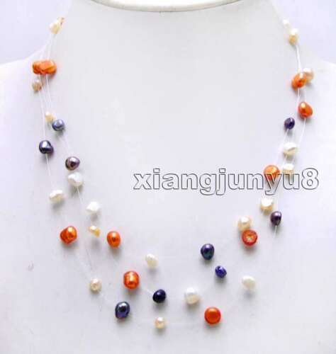 "6-7 Mm Multicolore Baroque naturel 3 brins 18/"" Starriness collier de perles FEMME"