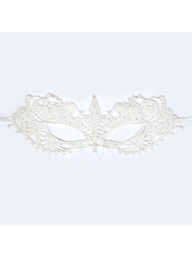 Adult Ladies White Lace Eye Mask Venetian Masquerade Ball Fancy Dress Accessory
