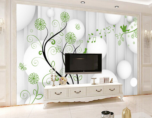 3D Camber Leaf Music Birds Paper Wall Print Wall Decal Wall Deco Indoor Murals