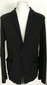 Mens-TRANSIT-UOMO-Black-Cotton-Linen-Blend-Blazer-Sport-Coat-Jacket-Size-Small