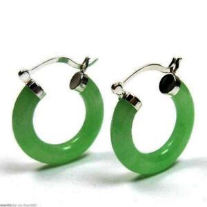 Genuine-Green-Jade-Jadeite-14k-White-Gold-F-1-034-Hoop-Earrings-Gift-Boxed