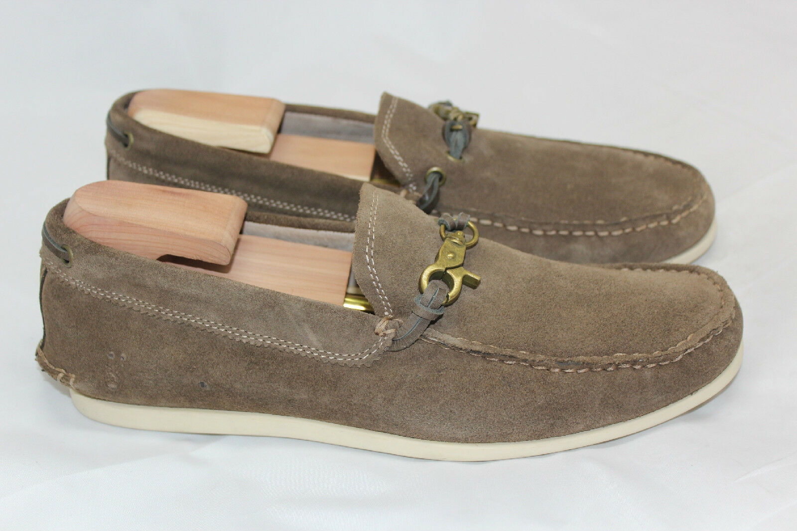 John Varvatos Star USA Boater Dog Clip Moccasin shoes - 8 M - Brown Clay (Q24)