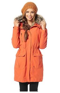 Ajc Ladies orange Parka With Removable Fur Size 8 uk rrp  CR092 DD 06