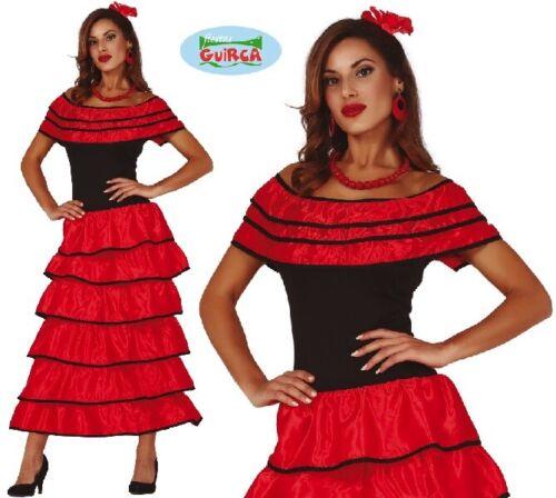 Ladies Spanish Flamenco Fancy Dress Costume Womens Spain Outfit fg
