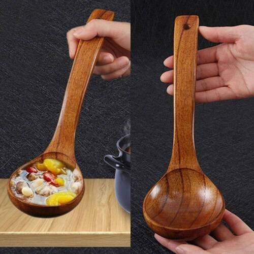 Long Handled Wooden Soup Spoons Bamboo Wood Kitchen Cooking Utensil Tool US x1