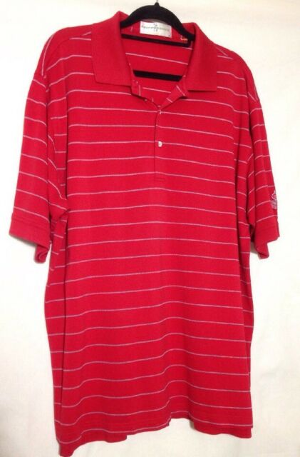 Fairway & Greene Mens Red Stripe Vancouver Golf Club Polo Golf Shirt, Size-XL