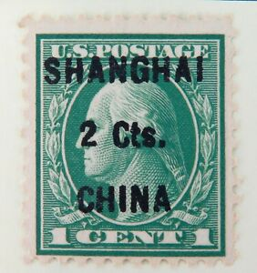 c1922-SCARCE-SCOTTS-K17-SHANGHAI-2Cts-CHINA-OVERPRINT-on-US-1Ct-Green-VF-OGnh