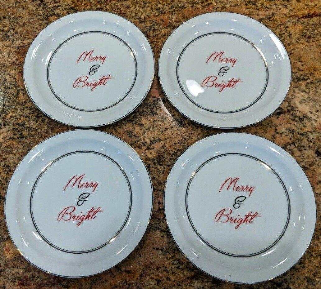 POTTERY BARN  MERRY AND BRIGHT APPETIZER PLATES   SET OF 4  CHRISTMAS HOLIDAY