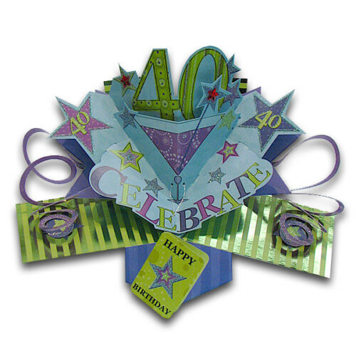 3D  Pop Up Greeting Card by Second Nature SN-POP-023 40TH BIRTHDAY