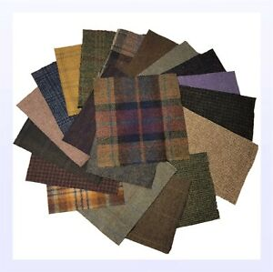 British-Tweed-20-Pieces-100-Wool-15x15cm-6x6-034-Remnant-Offcut-Squares-Not-Harris