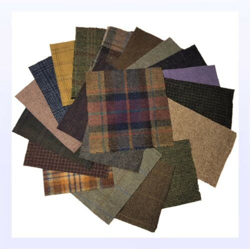 """No Harris 40 piezas Tweed Británico 100/% Lana 15x15cm 6x6/"""" restos offcuts Craft"""
