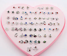36 Pairs  Silver rhineston Earring Stud Wholesale Pack Lot For girl friend Gift