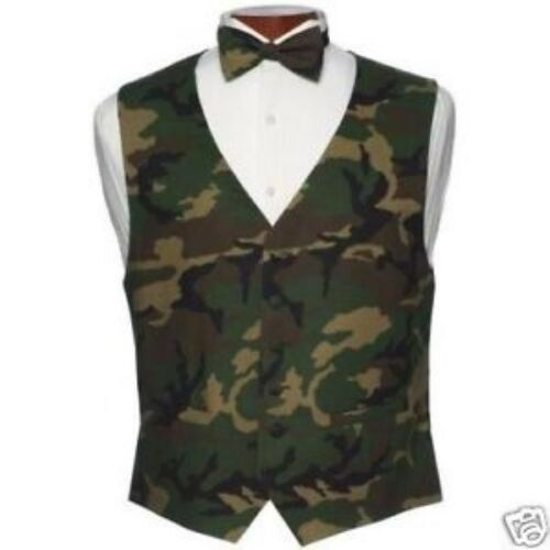 Brand New Army Camouflage Tuxedo Vest and Bowtie