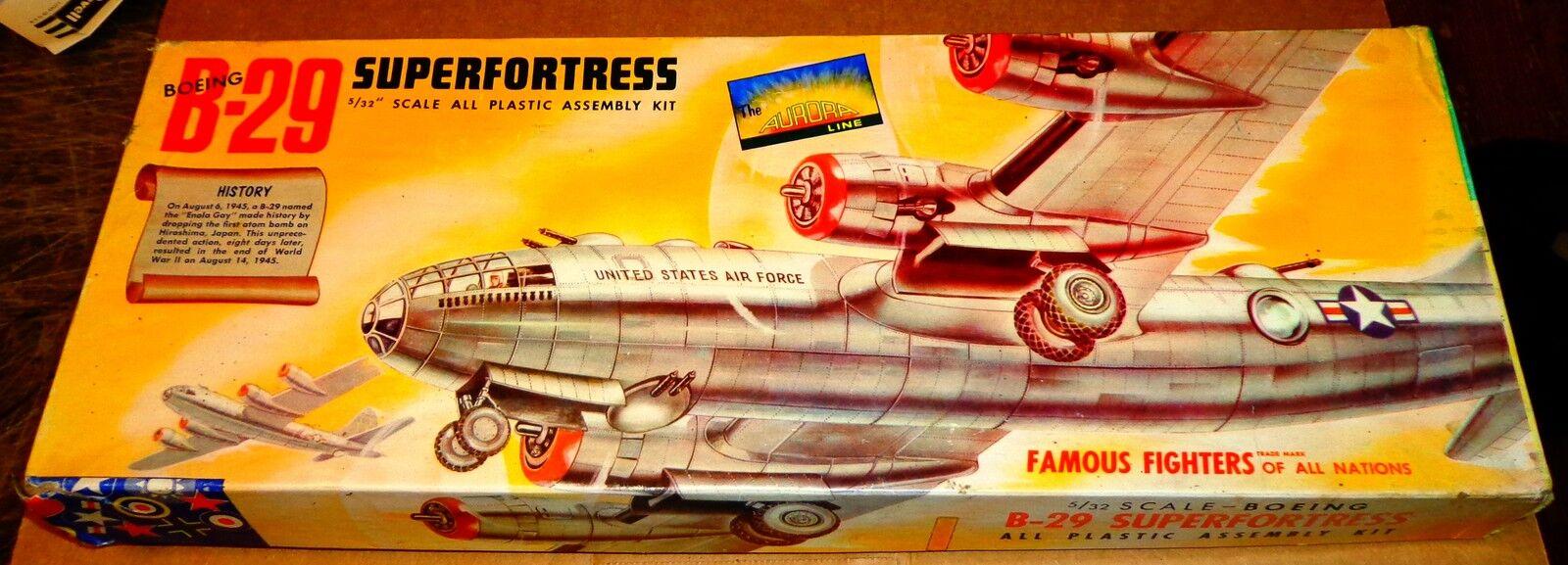 VINTAGE [1954] AURORA BOEING B-29 SUPERFORTRESS 1 76 w  CEMENT & REPRO DECALS