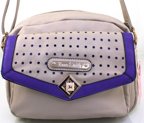LYDC Anna Smith Womens Ladies Leather Style Satchel Crossbody Laser Cut Handbag
