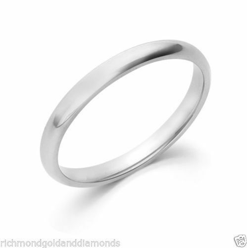 14K Solid White Gold 3mm Size 7 Plain Men and Womens Fit Wedding Band Ring 3 MM