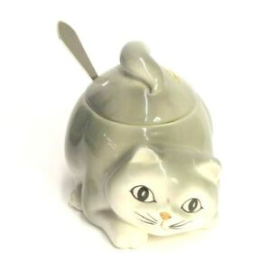 VINTAGE-1980-HAND-PAINTED-OTAGIRI-CAT-SUGAR-BOWL-JAM-JAR-LID-amp-SPOON-GREY-WHITE