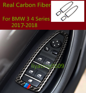 Real Carbon Fiber Inner Window Switch Panel Cover Trim For BMW 3 4 Series 17-18