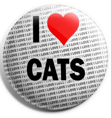 I Love Cats Badge Magnet Back Gift Stocking Filler Birthday