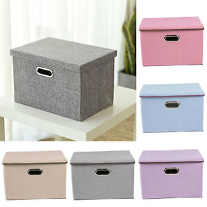 Large-Foldable-Square-Canvas-Storage-Box-Collapsible-Fabric-Cubes-Kids-Home