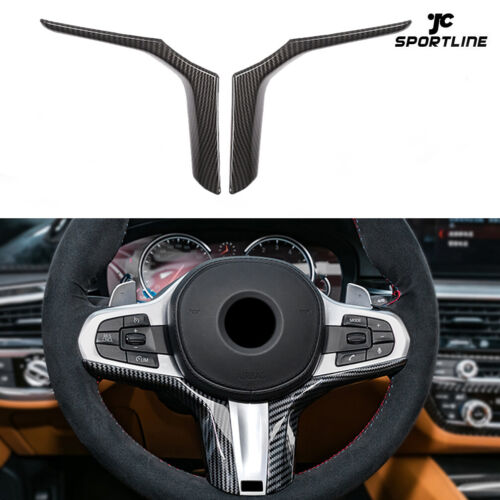 2PCS Carbon Look Steering Wheel Trim Cover for BMW 3 Series G20 G28 2019 2020