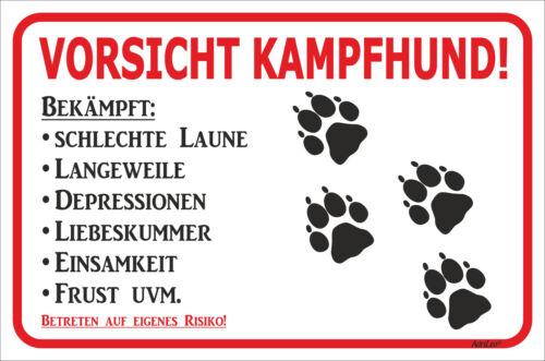 Schild Vorsicht - Tatzen - Kampfhund - 15x20 - 40x60cm Hund