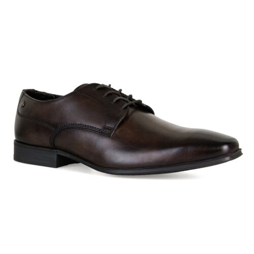 Base Mens Tyne Waxy Leather Derby Shoes Dark Brown
