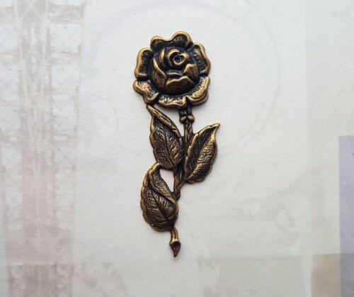 L945 1 Large Oxidized Brass Rose